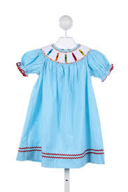 aqua gingham dress with smocked crayons