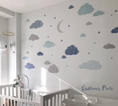 Cloud Moon And Stars Watercolor Patterned Fabric Wall Decals Eco Wall Decals