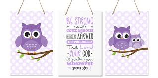 Lifesong Milestones 3 Piece Owl Wall Art Decor For Kids Bedroom Nursery Be Strong And Courageous Joshua 1 9 Purple Walmart Com Walmart Com