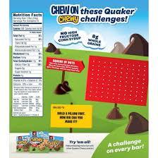 quaker chewy granola bar 25 less sugar