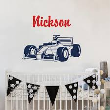 Custom Boys Name Wall Sticker F1 Equation Racing Car Wall Decal Kids Room Name Sticker Cut Vinyl Personalized Name Diy Decor Wall Decals Cheap Wall Decals Deals From Joystickers 12 57 Dhgate Com