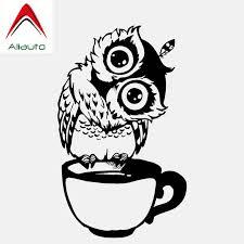 Aliauto Lovely Car Sticker Funny Cartoon Owl Cup Of Tea Vinyl Black White Waterproof Reflective Creative Decal 14cm 8cm Car Stickers Aliexpress