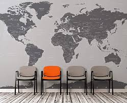 Amazon Com Large Grey World Map Wall Mural Simple Peel And Stick Mural No Glue Needed Full Map 6133 9ft Tall 108in Tall X 192in Wide Arts Crafts Sewing