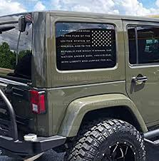 Amazon Com Skull Daddy Graphics Jl Jk Jku Window Usa Pledge Flag Decals Stickers To Fit Jeep Wrangler 2011 2019 Silver Pass Side Automotive