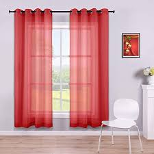 Amazon Com Red Curtains 63 Inch Length For Boys Bedroom Set Of 2 Panels Grommet Semi Voile Window Short Sheer Curtains For Kids Room Living Room 52x63 Inches Long Kitchen Dining