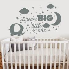 Elephant Wall Decal Dream Big Little One Decal Girl Room Etsy