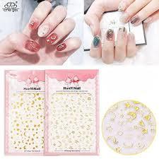 Moon Stars Gold Nail Decal Sticker Sheet X 1 Hanyi 172 Nail Stickers Decals Gold Nails Nail Decals