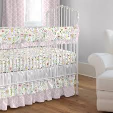 pink and gray primrose crib bedding