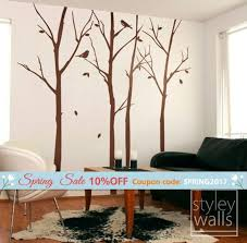 Forest Winter Trees And Birds Wall Decal Thin Winter Trees Etsy
