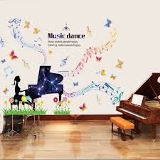 Music Piano Wall Sticker For Kids Rooms Decorations Girls Bedroom Dance Room Decoration Removable Wallsticker Diy Art Decals Wall Stickers Aliexpress