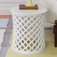 white marble round side table the