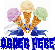 Amazon Com Harbour Signs Decal Order Here Ice Cream For Food Concession Restaurant Truck Exterior Vinyl Sign 24 X 22 Home Kitchen