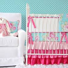 pink and turquoise fl baby bedding