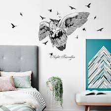 owl silhouette wall sticker creative