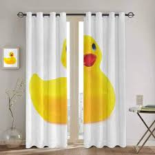 Amazon Com Living Room Curtains Rubber Duck Yellow Squeak Ducky Toy Fun Bubble Bath Animal Kids Room Duckling Print Boys Girls Bedroom Dorm 72x45 Inch White And Yellow Home Kitchen