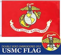 Usmc Marine Corps Wavy Red Flag Military Car Decal