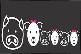 Amazon Com Pig Face Family Die Cut Vinyl Window Decal Sticker For Car Truck Laptop 3 5 X8 Kitchen Dining
