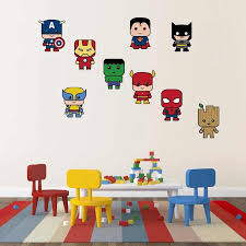 9 Pcs Set Cartoon Superhero Wall Stickers Batman Spiderman Iron Man Hulk Wall Decals For Kids Rooms Bedroom Home Decor Fcs9111 Wall Stickers Aliexpress