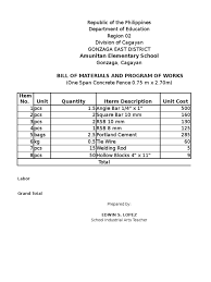 Bill Of Materials Fence Programs Of Work