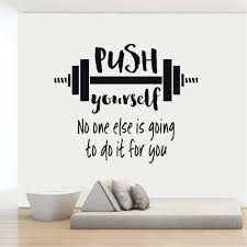 Push Yourself Gym Quotes Wall Decal Stickers Barbell Workout Exercise Sport Vinyl Decals Mural Home Interior Bedroom Ad01 Wall Stickers Aliexpress