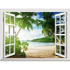 Removable Wall Decals Huge Vinyl Mural 3d Window View Stickers Large Nature Poster 33 5 X 45 Wa Window Wall Mural Wall Murals Removable Wall Stickers