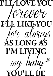 1 I Ll Love You Forever I Ll Like You For Always As Long As I M Living My Baby You Ll Be Wall Art Wall Sayings Home Decor Products Amazon Com