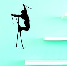 Custom Wall Decal Skier Leaping Skiing Girl Boy Silhouette Sports Vinyl Wall Sticker 14x28 Walmart Com Walmart Com