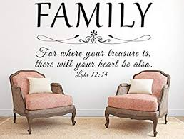 com family wall decal for where your treasure is luke