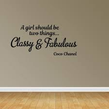 Wall Decal Quote A Girl Should Be Two Things Classy And Fabulous Coco Chanel Vinyl Sticker Home Decor Pc484 Walmart Com Walmart Com
