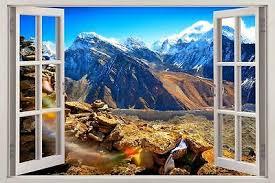 Mountains In Tibet 3d Window View Decal Wall Sticker Home Decor Art Mural Nature Ebay