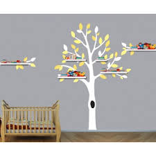 Yellow And Gray Shelf Tree Wall Stickers For Girls Rooms