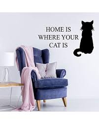 Don T Miss Deals On Cat Lovers Wall Decal Home Is Where Your Cat Is Cat Silhouette Vinyl Sticker For Kid S Bedroom Playroom Bedroom Or Living Room
