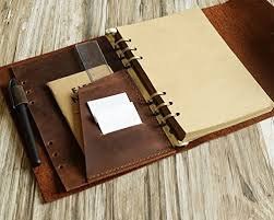 handmade leather refillable binder