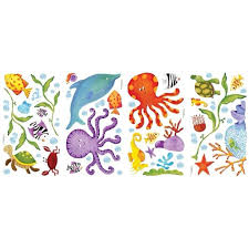 Lunarland Sea Fish 60 Big Wall Stickers Kids Decals Ocean Beach Octopus Dolphin Turtle Rm2 Transform