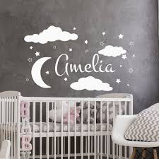 8 Personalized Name Wall Decal Moon Stars Vinyl Wall Sticker For Kids Room Decoration Baby Bedroom Decor Nursery Art Poster W537 In Wall Stickers From Home Garden Peony Bridal Bouquet