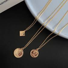 po gold coin pendant women s fashion