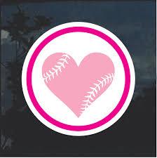 Love Softball Heart Weatherproof Window Decal Sticker Custom Sticker Shop