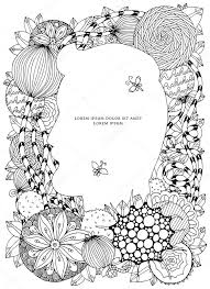 Vectorillustratie Van Floral Frame Zen Wirwar Dudlart Kleurplaat