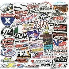 50pcs Auto Car Parts Nhra Drag Racing Vinyl Graphics Stickers Bomb Decals Sheet Ebay