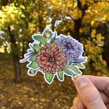 Pretty Flower Sticker Dahlia Flowers