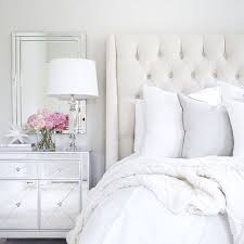 arhaus linen tufted bed mirrored