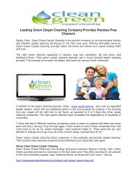 leading green carpet cleaning pany