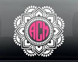 Mandala Car Decal Monogram Car Decal Mandala Vehicle Sticker Mandala Car Window Decal Monogramed Initials Car Monogram Decal Initials Decal Cricut Monogram