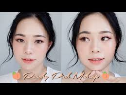 summer peachy pink look korean makeup