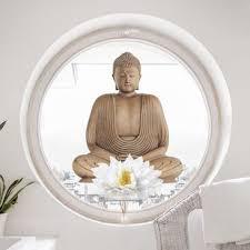 Window Sticker Wooden Lotus Buddha