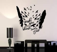 Vinyl Wall Decal Birds Feathers Motivational Words Dream Stickers Uniq Wallstickers4you