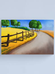 Painting Of A Landscape With A Path Along A Fence Canvas Print By Tmu Cw Redbubble