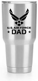Amazon Com Air Force Dad Emblem Vinyl Decal Sticker 2 Pack Yeti Tumbler Cup Ozark Trail Rtic Orca Decals Only Cup Not Included Black 2 3 X 2 9 Inch Kcd1806 Automotive