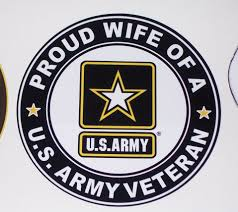Proud Wife Us Army Veteran Circle Full Color Graphic Window Decal Stick