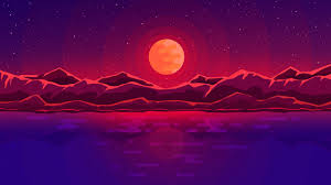 2560x1440 wallpaper moon rays red